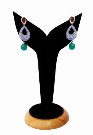 Gorgeous American Diamond Earrings in Red, Green and White Stones-0