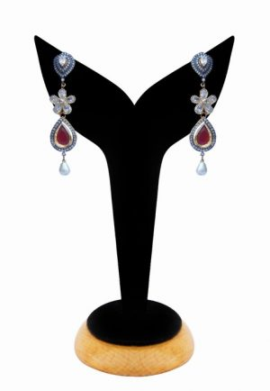 American Diamond Earrings for Girls in Red and White Stones-0