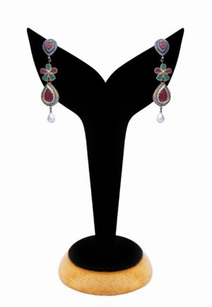 American Diamond Earrings for Women in Red, White and Green Stones-0