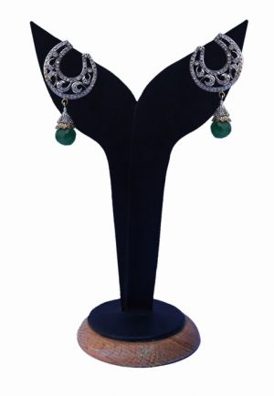 Green and White American Diamond Earrings from India for Festivals-0