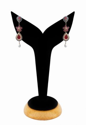 Exclusive American Diamonds Earrings for Women in Red and White Stones-0