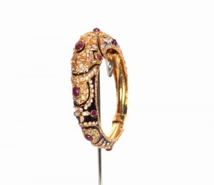 Antique Design Polki Bangle in Brown Color for Women-0