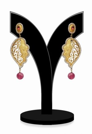 Antique Polish Party Dangle Earrings in Red Stones from India-0