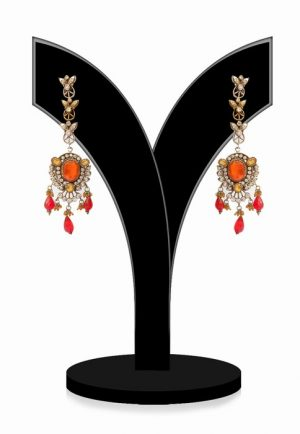 Gorgeous Antique Polish Victorian Earrings for Women in Orange Beads-0