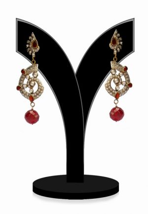 Buy Online Antique Victorian Earrings in Red and White Stones from India-0