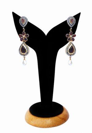 Buy Online Beautiful American Diamond Jhumkas in Maroon Stones-0