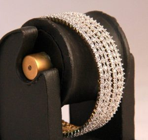 Beautiful Bridal Bangles in White AD Stones with Intricate Design-0