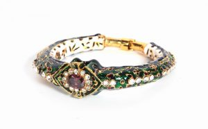 Beautiful Bridal Meenakari Bangle in Green with Intricate Design-0