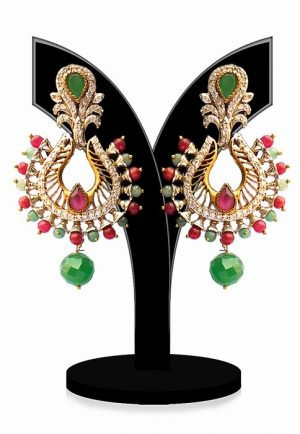 Buy Online Beautiful Earrings in Red and Green Stones-0