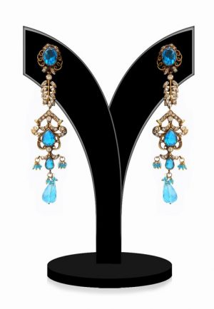 Beautiful Victorian Earrings for Girls in Turquoise and White Stones-0