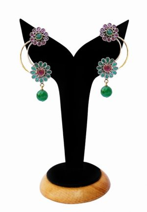 Beautiful Fashion Earrings for Girls in Red and Green Stones-0