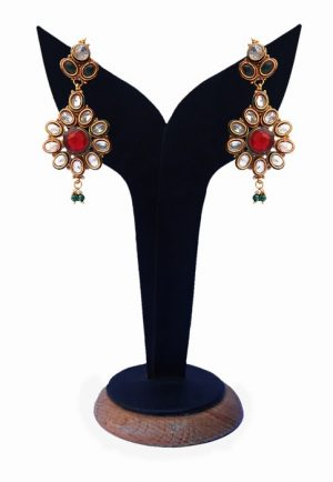 Buy Online Beautiful Red, Green and White Stones Polki Earrings-0