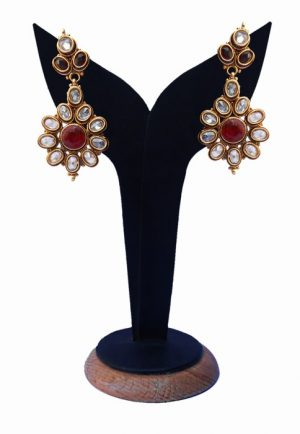 Beautiful Polki Earrings for Girls in Red and White Stones-0
