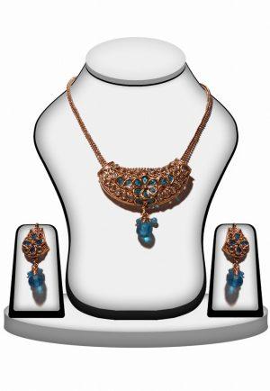 Beautiful Polki Pendant Set in Turquoise Stone with Antique Polish-0