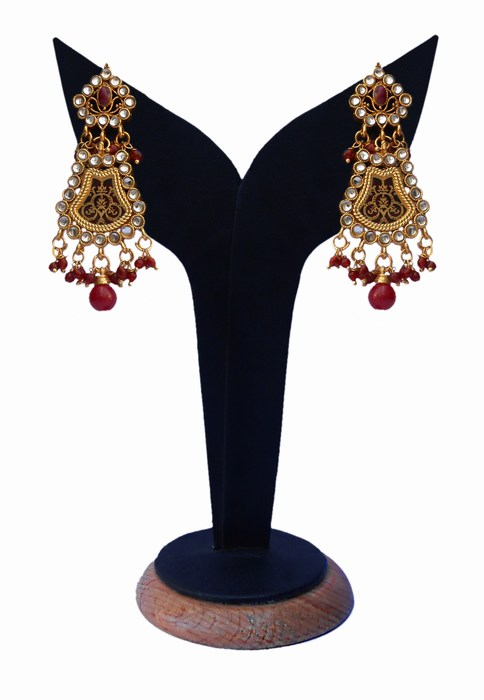 Beautiful Thewa Earrings for Girls in Red Kundan Stones-0