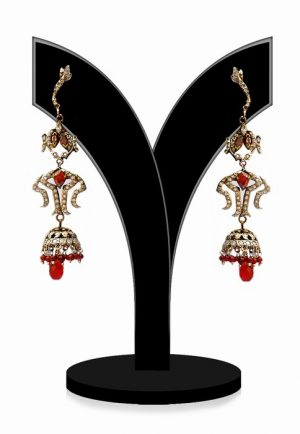 Buy Online Beautiful Victorian Earrings in Red Stones-0