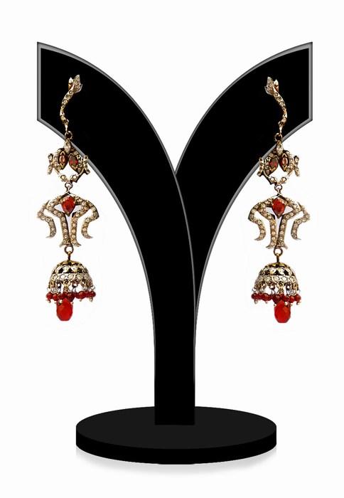Buy Online Beautiful Victorian Earrings in Red Stones-0