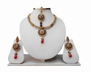 Red and Green Bridal Jewellery Set with Indian Tikka and Earrings for Women-0