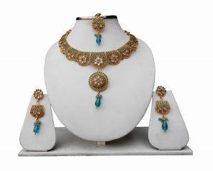 Gorgeous Green Bridal LCD Necklace Set with Earrings and Tikka for Girls-0