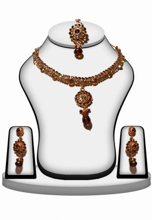 Buy Designer Bridal Fashion Necklace Set in Brown Color -0