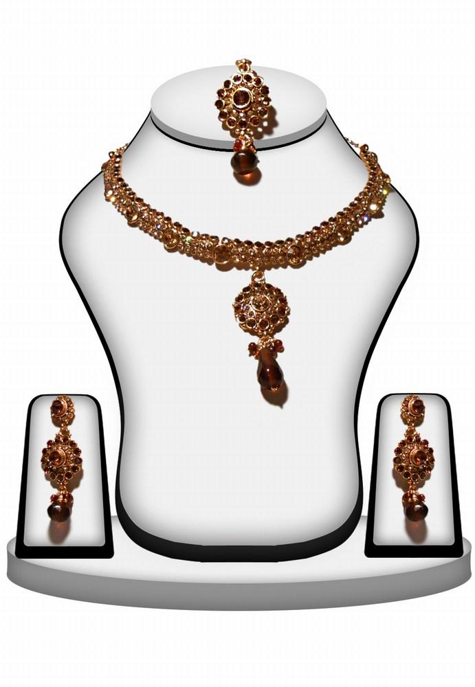Buy Designer Bridal Fashion Necklace Set in Brown Color -0