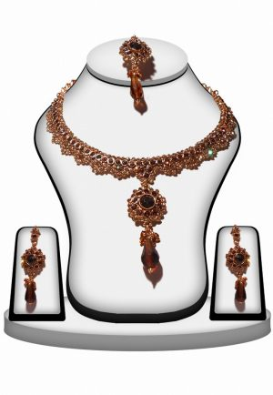 Buy Fashion Polki Jaipur Jewellery Set in Brown Beads and Stone-0