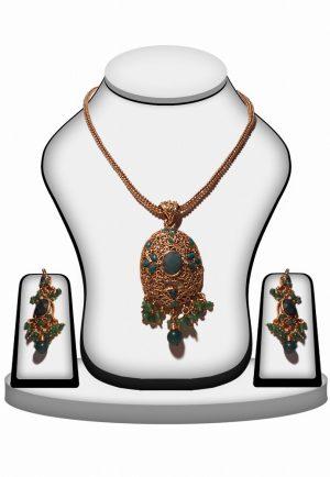 Buy Fashion Polki Pendant Set in Green Stone and Beads-0