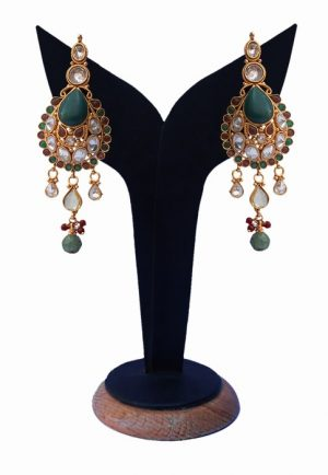 Classy Polki Earrings for Girls With Red, Green and White Stones-0