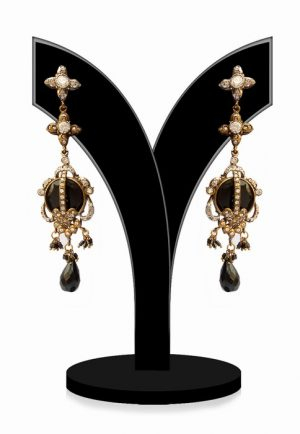 Exquisite Girls Dangle Wedding Earrings in Black and White Stones-0