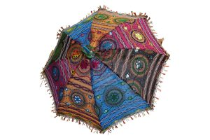 Designer Multicolor Decorative Rajasthani Vintage Mirror Work Umbrella-0
