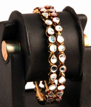 Latest Design Antique Bangles in White Kundan Stones with Red Surroundings-0