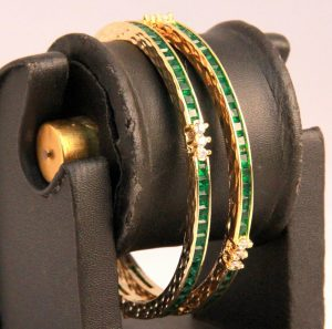 Latest Design Antique Bangles in White and Green AD Stones-0