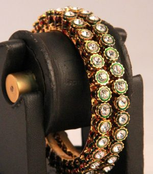 Antique Design Indian Women Bangles in Red and Green Kundan Pattern-0