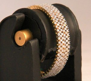 Finely Designed Bridal Bangles in White AD Stones from India-0
