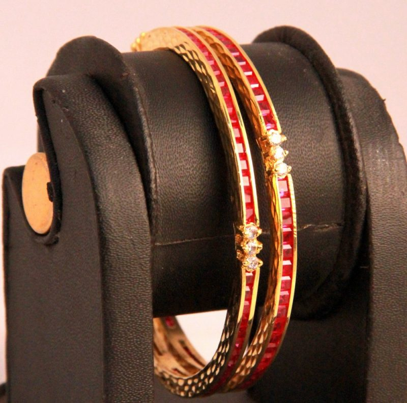 Finely Designed Bridal Bangles in White and Red AD Stones from India-0