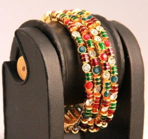 Finely Designed Red and Green Fashion Bangles from India-0