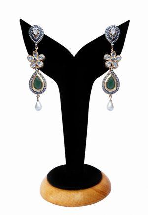 Designer American Diamond Dangler Earrings with Green Beads-0