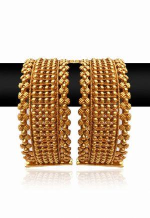 Beautiful Pair of Designer Bangles with Bright Golden Polish-0