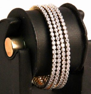 Bridal Bangles in White AD Stones with Intricate Designer Pattern-0