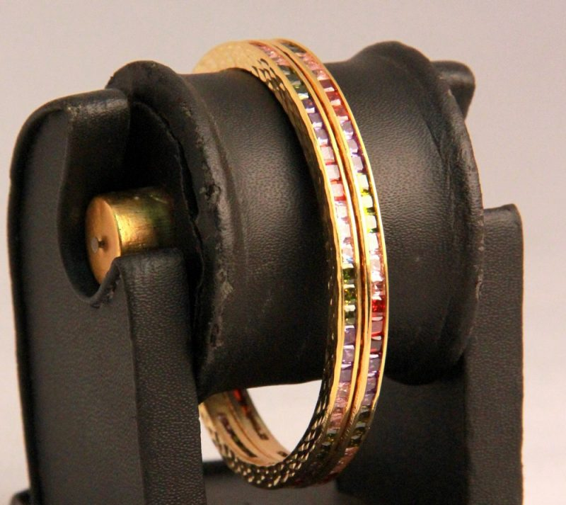 Gorgeous Designer Colorful Bangles in Multi-Color AD Stones-0