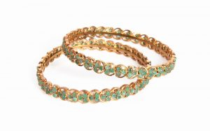 Fancy Pair of Gold Plated Bangles with Emerald Stones from India-0