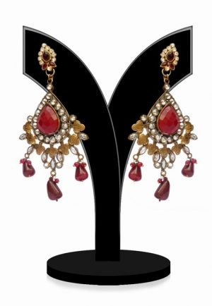 Designer Fashion Earrings for Girls in Red and White Stones-0