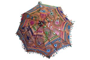 Designer Multicolor Floral Embroidery Indian Ethnic Summer Umbrella-0