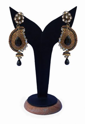 Beautiful Designer Kundan Earrings in Black and White Stones-0