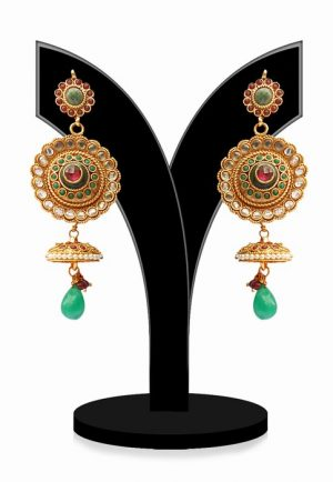 Classy Round Shaped Women Jhumkas in Red and Green Beads-0