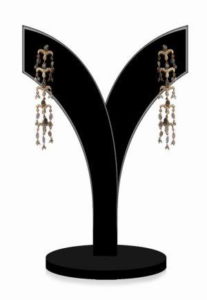 Designer Long Dangle Earrings for Girls in Smoky Color Beads-0