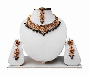 Latest Design Black Polki Tikka, Jhumkas and Necklace Jewelry Set From India-0