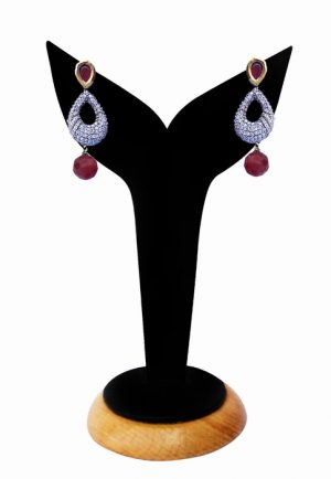 Gorgeous Red Beads Party Earrings with American Diamonds-0