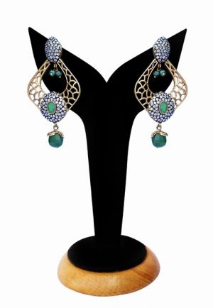 Pretty Party Earrings with Antique Polish and Green and White Stones-0