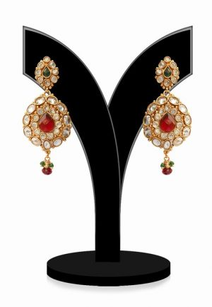 Shop Online Designer Polki Earrings With Red, Green and White Beads-0